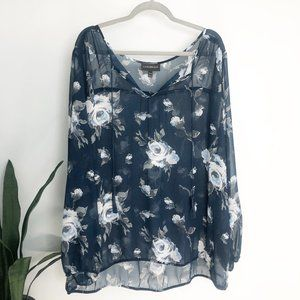 Lane Bryant Navy Sheer Floral Blouse